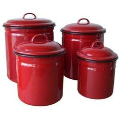Great Red Enamelware 4 Piece Canister Set   Retro/Vintage Home Decor Crosley  Radio Reproductions Unique