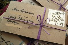 Do it yourself: eco-friendly brown card and raffia rustic 'save the dates'