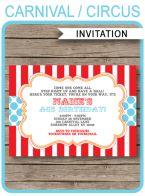 Circus Invitation Template – red aqua