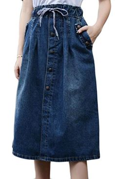 c17fb6e6df9005 YUNY Womens Faded Denim Skirt Button Down Drawstring Swing Jean Skirt Blue  M *** Amazon most trusted e-retailer #SummerOutfit