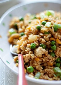 12-Minute Scrambled Tofu Fried Rice recipe - Tofu replaces eggs for a protein-rich (and vegan) fried rice recipe. From chopping board to table in 12 minutes!