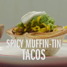 Use jumbo muffin tins to turn flour tortillas into crispy taco shells. Then, fill them with spicy, seasoned beef for a dinnertime fiesta.