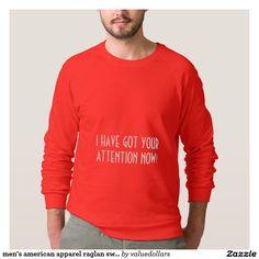 men's american apparel raglan sweat shirt