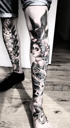 Leg tattoos by Sarah Schor. The tattoos are actually full color, but this picture was photo-shopped to remove the color from the picture #ink