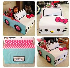 cardboard car diy cool hello kitty box car hello kitty everything of cardboard car diy School Projects, Projects For Kids, Diy For Kids, Crafts For Kids, Hello Kitty Car, Hello Kitty Birthday, Hello Kitty Crafts, Cardboard Car, Cardboard Crafts
