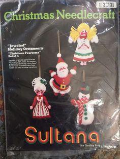 Vintage Sultana Jeweled Christmas Holiday Ornaments Kit 32131 Beads/Sequins Felt #Sultana
