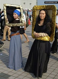 Chilling with the Mona Lisa and The Girl with a Pearl Earring. Halloween next year? yes. best costume ever!