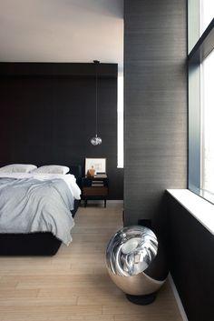 ♂ Modern interior design bedroom with black wall and Hanging bedside light