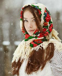 Russian beauty, Russian girl. Floral scarf