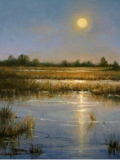 Harvest Moon by Paula B. Holtzclaw Oil ~ 16 x 12 Watercolor Landscape, Landscape Art, Landscape Paintings, Watercolor Paintings, Pastel Paintings, Wow Art, Arte Floral, Nocturne, Types Of Art