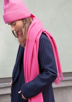 & Other Stories image 2 of Oversized Wool Scarf in Pink