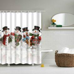 Waterproof Christmas Snowman Printed Bathroom Shower Curtain