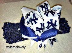 New York Yankee Baby Girl Bow Headband by Stylemelovely01 on Etsy