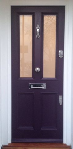 Splendid Victorian Front Door in Farrow & Ball's Pelt no. 254 in Exterior Eggshell