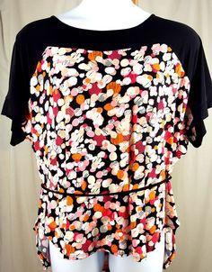 58b9c5254288c 22/24 Avenue Blouse Tunic Black Orange Pink Waist Tie Belt Plus Size Top NWT