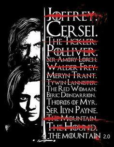 Game of Thrones - updated Arya's kill list