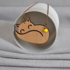Origami Fox Necklace from artysmartyshop.com   #woodcarving #lady #crafting #jewelrydesign #fashion #accessory