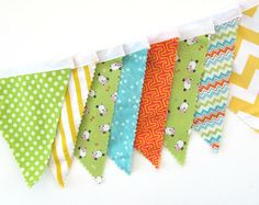 Bunting Fabric Banner Chevron Flags / Lambs Nursery Decoration Photo Prop, Birthday Party Banner Eco Friendly, Baby Shower Garland