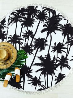 SheIn offers Black Coconut Tree Print Fringe Trim Round Beach Blanket & more to fit your fashionable needs. Swimwear Sale, Black And White Style, Beach Accessories, Beach Blanket, Tree Print, Fringe Trim, Beach Art, Beach Dresses, Beach Towel