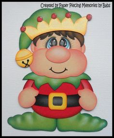 Christmas Elf Boy Premade Paper Piecing Die Cut for Scrapbook Page by Babs