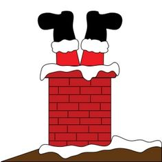 santa's feet | ... Clipart Image: Santa Claus Stuck in the Chimney with Feet Sticking Out