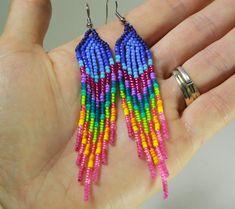 4Rainbow Seed Bead Earrings Native Indian Inspired от NativeStyles
