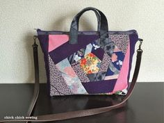 Using kimono fabrics, I stitched up patchwork purse for my hubby's elderly aunt who is in her late eighties. She lives in a residential care home in Honolulu, Hawaii. ハワイ在住の高齢の夫の叔母(もうすぐ90才)に着物地を使ってパッチ