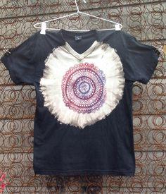 Discharge sunprinted screenprinted t shirt
