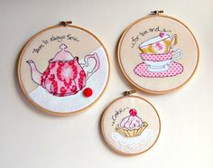 Pink teapot, teacups, cake trio of freestyle embroidery in hoops