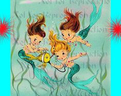 ART NOUVEAU sirena cuento sirena Merbaby postal por MERMAIDSFABRIC