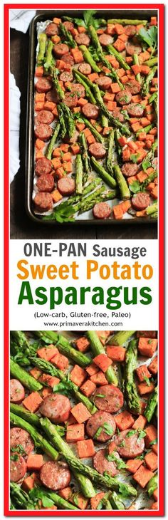 One-Pan Sausage with Sweet Potato and Asparagus - This One-pan Sausage with Sweet potato and Asparagus recipe is all made in one-pan, which is great for cleaning up and it's ready in 15 minutes. paleo lunch for one Potato And Asparagus Recipe, Sweet Potato Recipes, Chicken Recipes, Meals With Sweet Potatoes, Pan Asparagus, Potato Meals, Paleo Recipes, New Recipes, Cooking Recipes