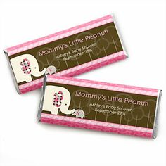 Treat your guests to a fun baby shower favor when you use a Baby Elephant personalized candy bar wrapper around a yummy Hershey's® milk chocolate candy bar. This adorable baby shower candy bar wrapper kit comes with the perfect sized paper wrapp Best Baby Shower Favors, Unique Baby Shower, Boy Baby Shower Themes, Baby Shower Balloons, Baby Boy Shower, Elephant Baby Showers, Baby Elephant, Personalized Candy Bars, Personalized Baby
