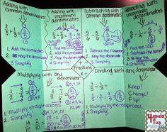 math, fraction foldabl, idea, school, fractions