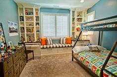50  Awesome Blue Bedroom Ideas for Kids, http://hative.com/blue-bedroom-ideas/, love the pull out desk/built in