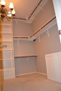 Master Bedroom Closet - top shelf/ bar would have to be lower for my shortness! Master Bedroom Closet - top shelf/ bar would have to be lower for my shortness! Closet Redo, House, Closet Remodel, Closet Makeover, Home, Master Bedroom Closet, Master Bedroom, Closet Designs, Closet Layout