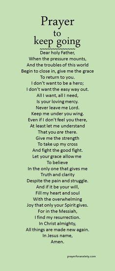 Prayer to keep going