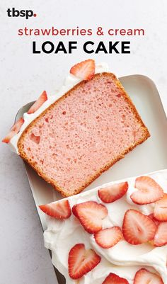 Strawberries and cream is one of our all-time favorite pairings. When its made into a loaf cake and topped with a homemade cream cheese frosting and sliced fresh strawberries, it becomes one of our all-time favorite desserts. Just Desserts, Delicious Desserts, Yummy Food, Healthy Food, Healthy Recipes, Baking Recipes, Cake Recipes, Dessert Recipes, Bread Recipes
