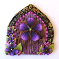 Purple Flower Fairy Door  Pixie Portal Miniature by Claybykim