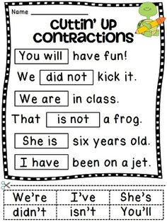 Contractions worksheet activities in a fun cut and paste format that are great practice for contractions! Students read the sentences and cut & paste to match the contraction to the words it represents. These help illustrate to students how a contraction Grammar Activities, Grammar Lessons, Teaching Resources, Teaching Ideas, Grammar Skills, Teaching Child To Read, Teaching Reading, Learning, Teaching Grammar