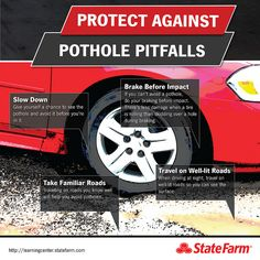 Protect your car from potholes using these tips. Pothole Pitfalls infographic | Flickr - Photo Sharing!