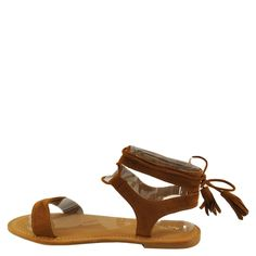 Bamboo Bayside 34S Women's Open Toe Corset Lace Up Flat Sandal (08.5, Cognac). Heel Height: .5 Inch, Style: Gladiator, Width: Medium (B, M), Fastening: Lace Up. Soft faux suede, Lightly cushioned footbed, Trendy tie-up corset design with tassel accent, Adjustable lace-up closure, Non-skid sole. An essential for every closet, these versatile corset tie-up sandals by Bamboo called Bayside-34S are a perfect pair!. Glam up your look with stylish and attractive shoes that creates an awesome...