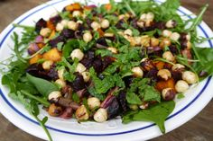 Caramelized pumpkin, beetroot and hazelnut salad