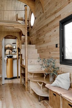 Tiny wood home with terrace Building A Tiny House, Tiny House Plans, Tiny House On Wheels, Small Space Living, Small Spaces, Tiny House Mobile, Little Cabin, Cozy Cabin, Scandinavian Home