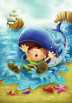 Bible Stories For Kids, Bible Study For Kids, Sunday School Activities, Bible Activities, Bible Cartoon, Idees Cate, Jonah And The Whale, School Murals, Bible Illustrations