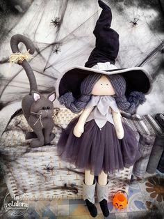 Brujita Y Gato De Halloween Realizada Por La Retalera Diseno Country Creations Di Federica