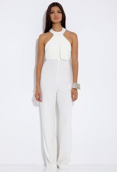 White Leah Cream Halterneck Jumpsuit $210 @Shelly Field