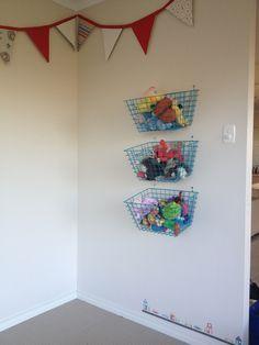 Soft toy storage solution :: metal baskets $9 from Kmart Soft Toy Storage, Toy Storage Solutions, Storage Ideas, Big Girl Bedrooms, Girls Bedroom, Kids Room Organization, Metal Baskets, All Toys, Organizations