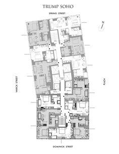 Manhattan Hotel Rooms | Trump SoHo New York - Full Level Floor Plan | Manhattan Luxury Hotel Suites