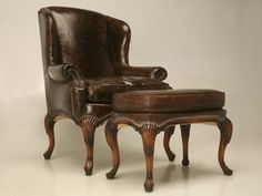 antique wingback chair with Ottoman