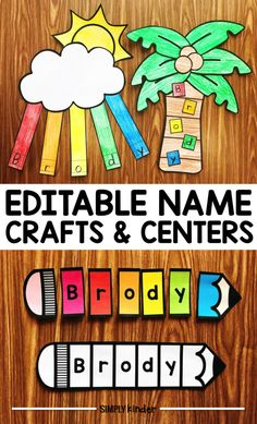 Name Crafts and Name Centers from Simply Kinder. Create these editable projects for your students to help them learn the letters in their names! Print and use blank templates or program in a tracing font to assist them! Name Writing Activities, Name Activities Preschool, Kindergarten Names, Preschool Lessons, Alphabet Activities, Teaching Kindergarten, Preschool Classroom, Preschool Activities, Disney Classroom